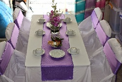 Bàn ghế cưới hỏi màu tím nhạt