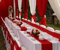 Bàn ghế cưới hỏi màu trắng - đỏ