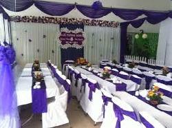 Bàn ghế cưới hỏi màu trắng - tím