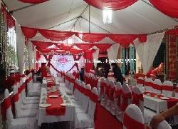 Cho thuê rạp cưới, phông cưới gam màu đỏ đẹp sang trọng