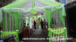 Thi công phông bạt cưới màu xanh trắng tại Nguyễn Thị Định - Hà Nội